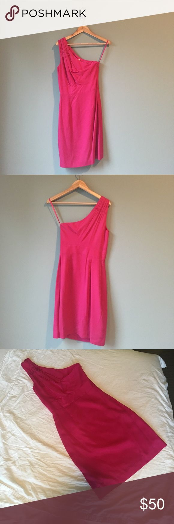 Banana Republic One-Shoulder Pink Dress - 0P Ruched One-Shoulder Hot Pink Dress from Banana Republic - Size 0P; - New Without Tags - Petite Sizing - Ruched detailing at the shoulder - Fully lined - Invisible side zipper with hook and eye closure - Shell 100% Lyocell; Lining 100% Acetate - Machine washable Banana Republic Dresses One Shoulder
