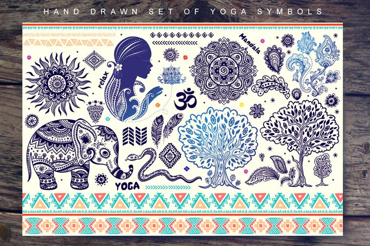 Set of yoga and tribal symbols by Transia on Creative Market