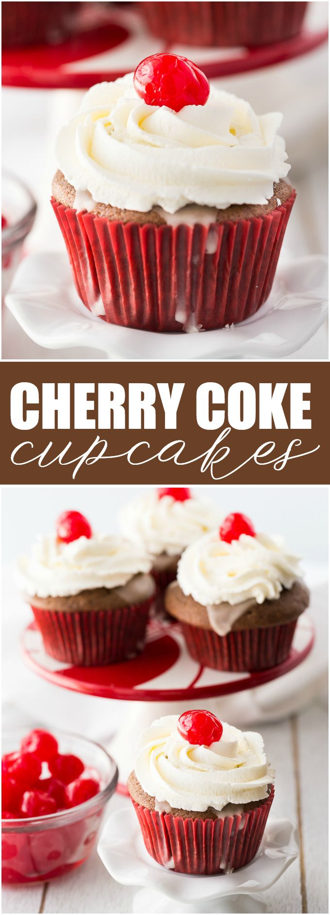 Cherry Coke Cupcakes - Each cupcake has a cherry in the middle, glazed with a Coca-Coca sugar glaze and topped with sweet and fluffy whipped cream.
