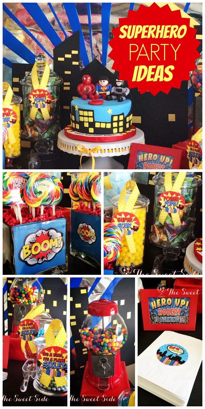 A super hero boy birthday party in yellow, red, blue, and black with a city scape backdrop! See more party planning ideas at CatchMyParty.com!