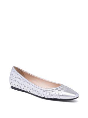 Bottega Veneta - Metallic Intrecciato Leather Ballet Flats