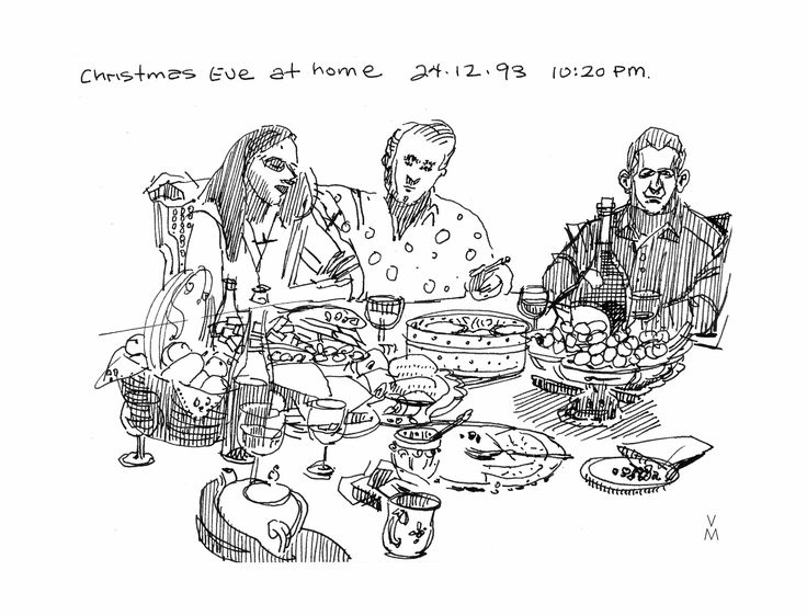 My brother Dom is doing a new bio #video and he wanted a #drawing of the #family sitting at the table. Did this in 1993.