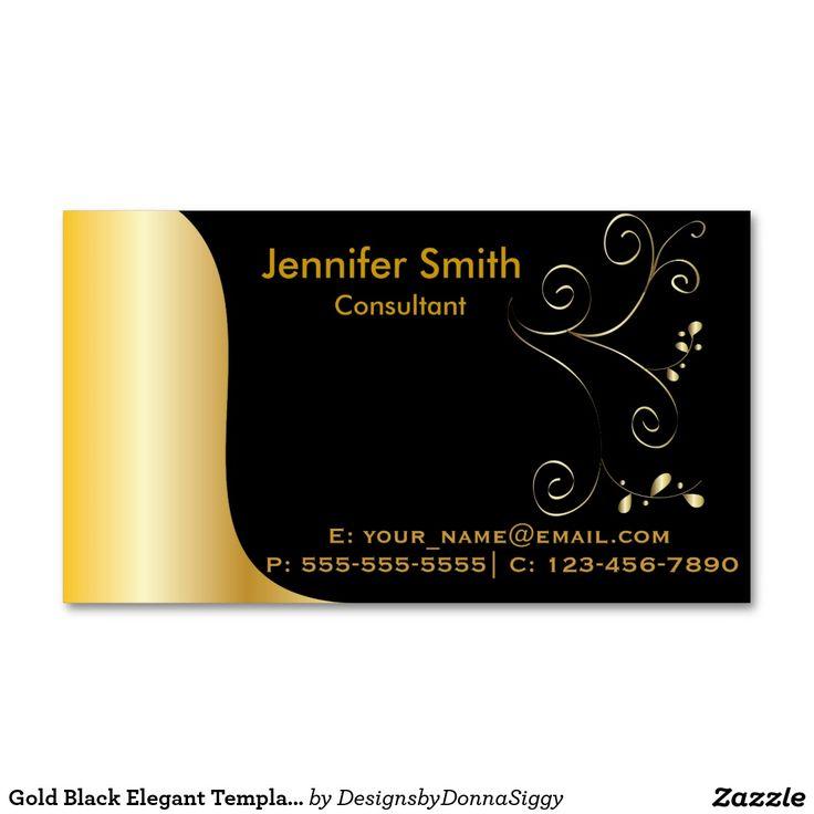 Plantilla elegante negra del oro tarjetas de visita