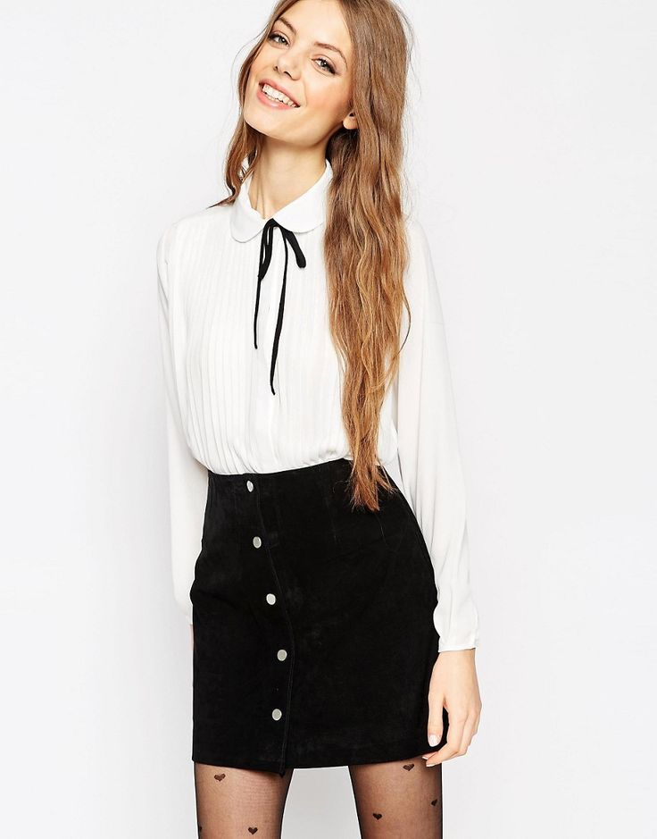 Image 1 of ASOS Pleat Front Blouse With Contrast Tie