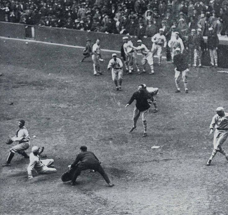 Yankee Stadium 10/10/23 - In first postseason game ever played at Yankee Stadium, Casey Stengel slides in safely as his 9th inning inside-the-park HR helps Giants win Game 1 of 1923 World Series 5-4 . But Yankees would rebound winning their first title by taking series in 6 games