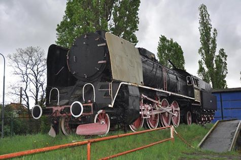 photo by Ian Smith of PKP 2-8-2 No. Pt47-121 displayed at the depot in Kostrzyn, Poland.