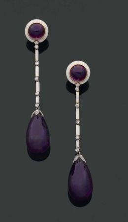 CARTIER. Années 1920. Rare paire de longs pendants d'oreilles