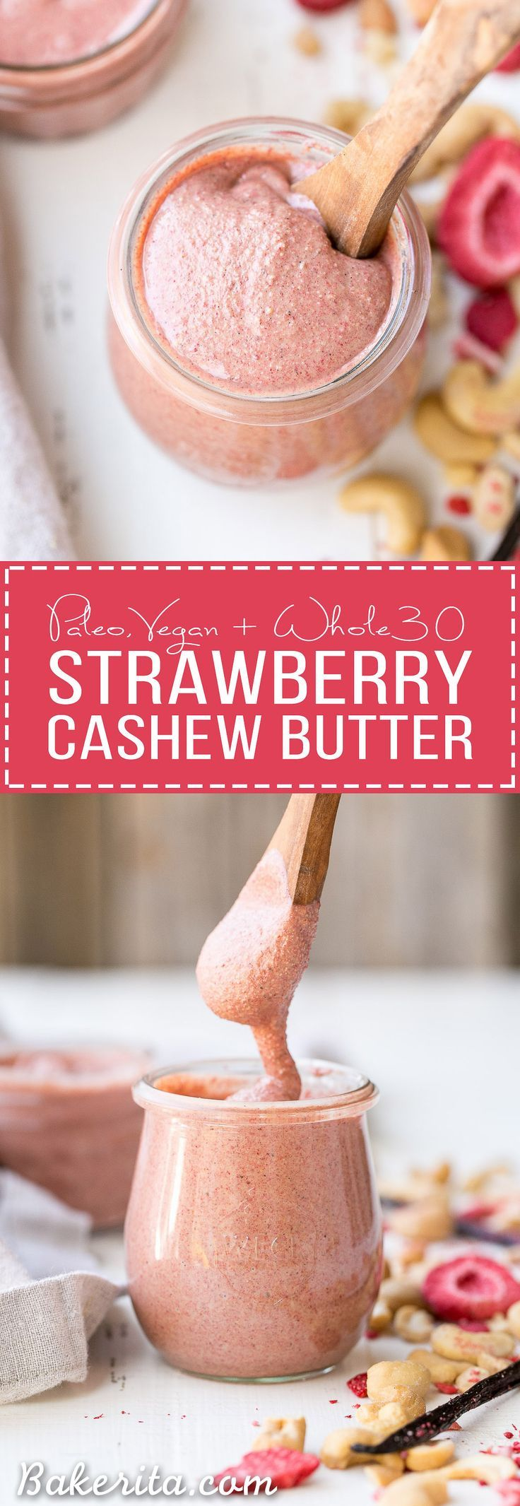 If you're a homemade nut butter fan, you must try this irresistible Strawberry Cashew Butter! Flavored with freeze dried strawberries and vanilla bean, this Paleo, vegan, sugar free + Whole30-friendly treat will be a new favorite.