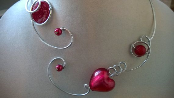 Raspberry necklace   wire jewelry  open necklace