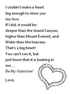 Valentine Poem Printable for Kid Gifts to Parents
