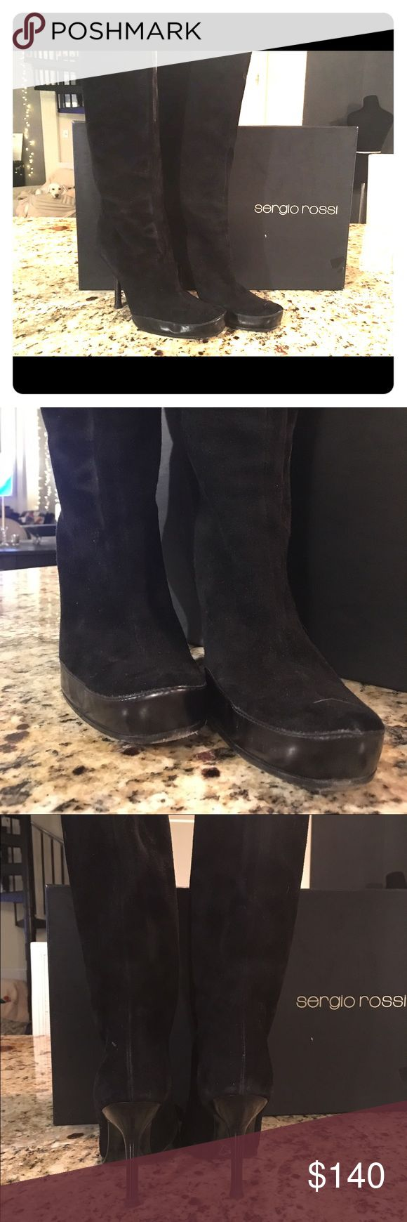 Sergio Rossi Womens Black Suede Mid-Calf Boots 7.5 Beautiful Sergio Rossi Womens Black Suede Mid-Calf Boots Sz 37.5/7.5 Golf Nero Royale 4 inch heel. Pull on mid calf. Barely worn. With Box and tags. Originally purchased at Saks Fifth Avenue for $540.  The is a shiny black leather band around the base of the front of the boot. This area is not scuffed it is the glare shine in the picture. I can email more pics if needed. Former stylist cleaning out my closet. Perfect with skirts, slacks or…