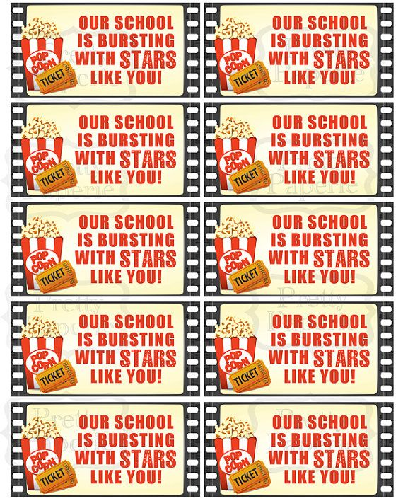 INSTANT DOWNLOAD-Teacher Gift Giving - Movie Theme-Bursting with Stars: Printable PDF