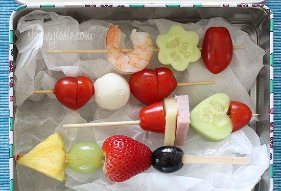Mini Skewers by  Skinnytaste: Healthy, easy and fun! #School_Lunch #Healthy #Skewers