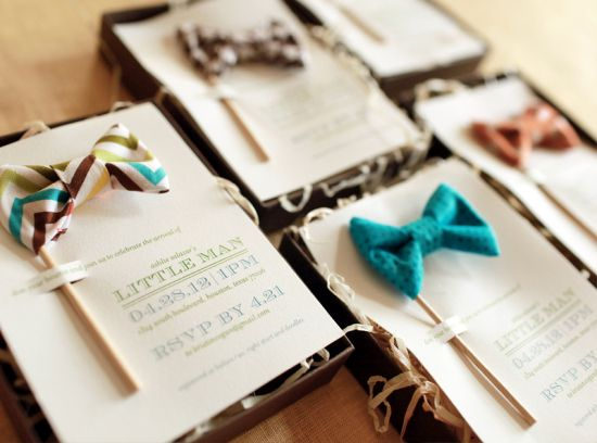 Little Man Bow Tie-Inspired Baby Shower Invitations