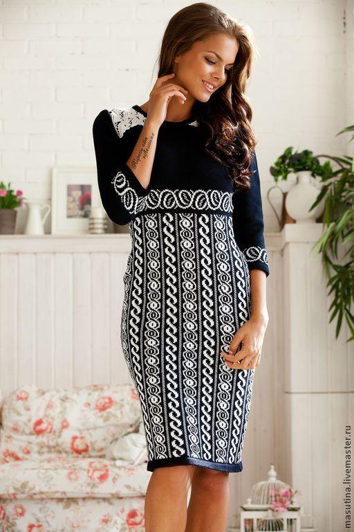 """Купить Платье """"Аленка"""" - чёрно-белый, орнамент, платье на заказ, платье на зиму, вязаное платье"""