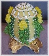 Diamond Trellis Beaded Egg pattern. Embellish flowers differently, more/more variety.
