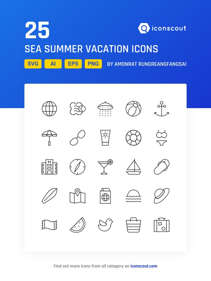 Sea Summer Vacation  Icon Pack - 25 Line Icons