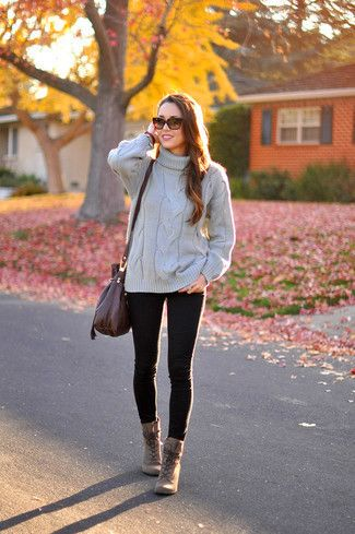 How to Wear Brown Leather Lace-up Ankle Boots | Women's Fashion
