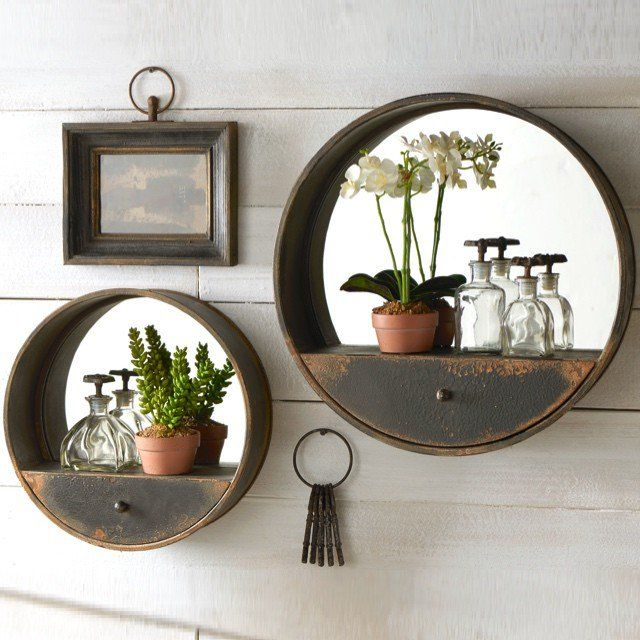 Vintage French Soul ~    Metal Wall Mirror with Shelf and Drawer