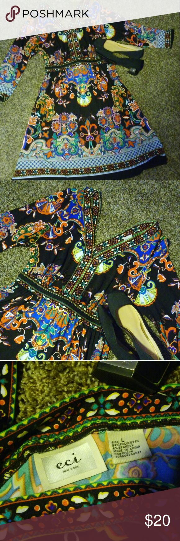 Abstract dress Amazing colorful dress very soft stretchy material v neck 3/4 has  sleeves only used one's Dresses Midi