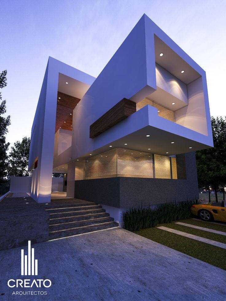 Fachadas creato arquitectos casa los robles pinterest for Departamentos minimalistas fachadas