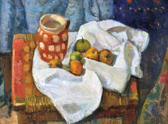 Berény Róbert (1887-1953)  Csendélet fehér abrosszal, almákkal  Olaj, vászon, 50x65,5 cm