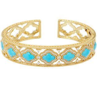 Judith Ripka 14K Clad Diamonique & Turquoise Cuff Bracelet
