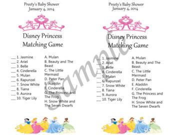 Disney princess baby shower theme game