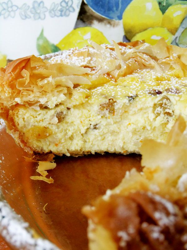 """Easter Italian rice pie - author says """"the rum soaked raisins make it! I should have added a little more…"""""""
