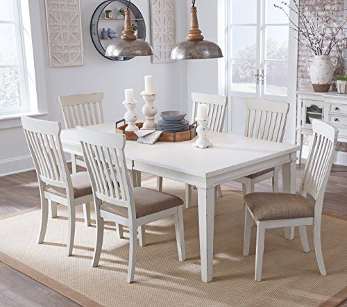 FurnitureMaxx Dembuck Formal White Color Dining Room Set Rectangular Extension Table With 6 Side Chairs 0 5