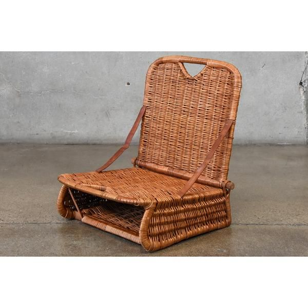 Unique Little Rattan Folding Beach Chair With Built In Basket Purchased By The Original Owners While On Vacation Rattan Beach Chair Folding Beach Chair Chair