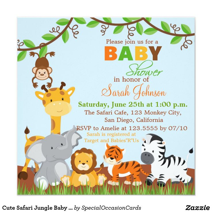 "Cute Safari Jungle Baby Shower Invitation 5.25"" Square Invitation Card"