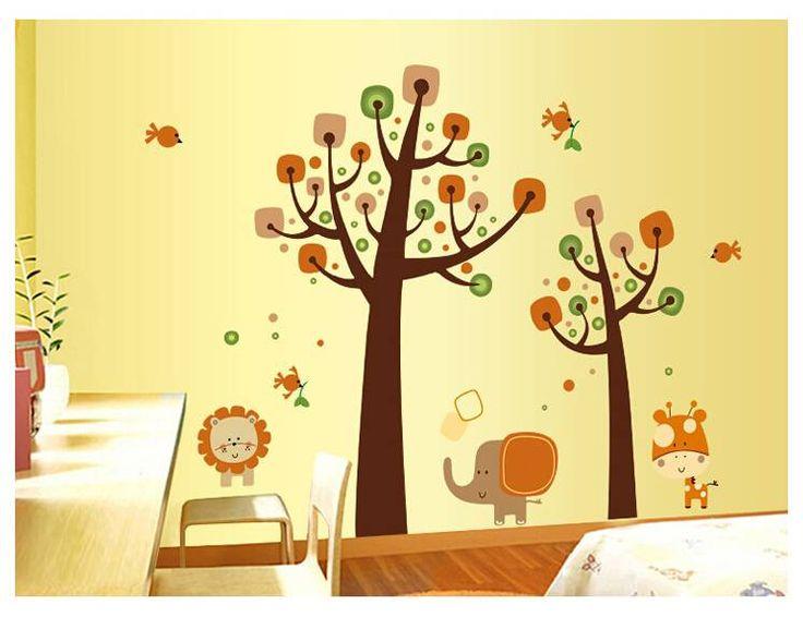 Muursticker bos met lieve dieren <br /> Deze leuke boom staat mooi op de kinderkamer of babykamer.