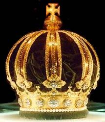 Imperial Crown of Brazil   The Imperial Crown of Brazil was created for Dom Pedro II in 1841 for his coronation. It is made of gold and contains 639 diamonds and 77 pearls. The crown is made up of eight half arches, topped with a jewelled cross. In 1889, Brazil abolished it's monarchy, but unusually the crown jewels were kept safe. They now belong to the Brazilian State and are on display at the Imperial Museum of Brazil.