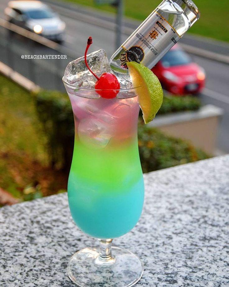 • BELUGA RAINBOW AMOUR • Blue Layer: Coconut Rum Coconut Cream Island Punch Puker Splash of Blue Curacao Green Layer: Midori Apple Pucker Lemonade Top Layer: Cranberry Vodka Bols Parfait Amour Lemon Lime Soda Beluga Vodka Mini Bottle Cherry & Lime #tipsybartender #amazing #alcohol #bar #club #party #vodka #sexy #summer #sweet #blue #beautiful #dessert #new #delicious #instagood #instadaily #instalike #drinks #drink #cocktail #cocktails #purple #yummy #blue #glass #rainbow #girls #absolu...