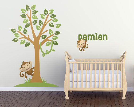 Wall Decals Nursery Monkey Tree with Custom by LullaberryDecals