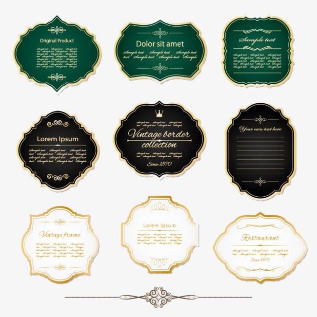 9 Vintage Gold Frame Label Vector Material, Retro, White