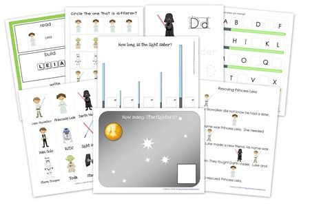 Star Wars Preschool Pack Printables- includes word and letter tracer sheets, early writing strips, find the different object, and beginning sound cards & Read! Build! Write! cards.