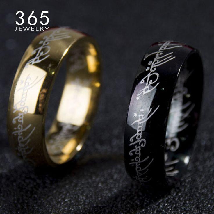 2016 Magic Letter The Hobbit Lord of the Rings Black Silver Gold Titanium Stainless Steel Ring for Men Women senhor dos aneis