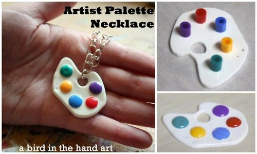 DIY Shrinky Dink and Perler Beads Artist Palette Necklace. Really good kids' jewelry, plus they can help place the beads to make the colors on the palette. Tutorial byby Guest Bloggera bird in the handfor Think Crafts! here.