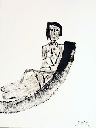 I think you, ink on shimmed paper, 1982, 77x57 cm