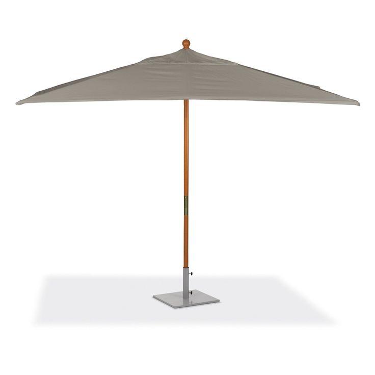 oxford garden 10feet rectangular taupe sunbrella fabric shade market umbrella with solid tropical hardwood