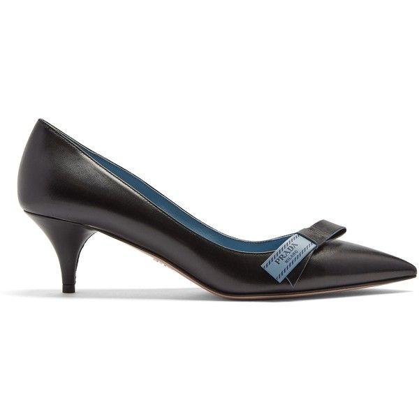 Bow-embellished Patent-leather Slingback Pumps - Black Prada BgZvq