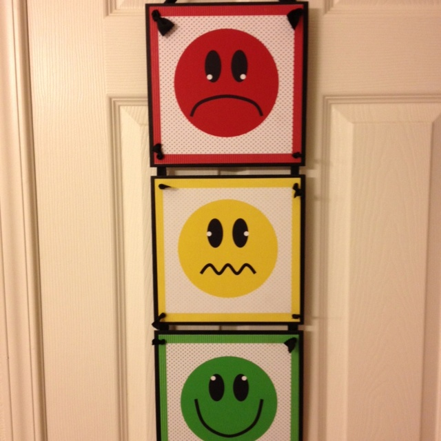 Classroom stoplight behavior chart: green-get a treat at the end of class, yellow-warning and has to earn way back to green with good behavior, red-no treat at the end of class. Use a cloths pin for each child's name.