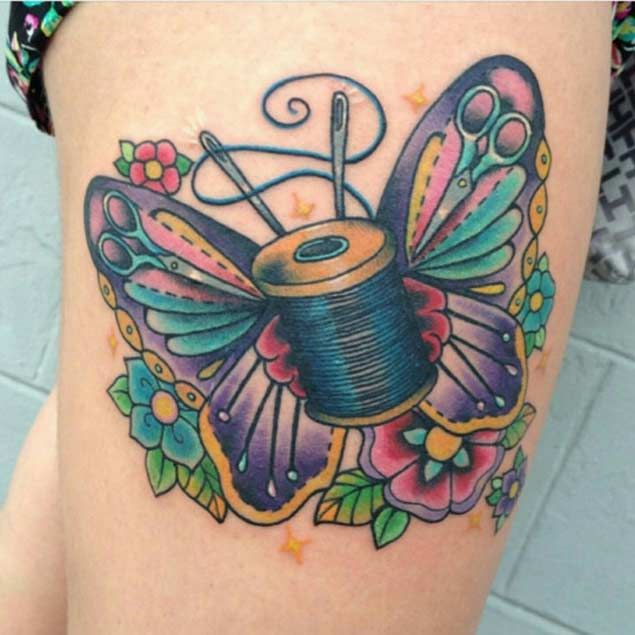 Butterfly Sewing Tattoo