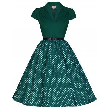 Lindy Bop 'MEGAN' FLIRTATIOUSLY FUN 50'S VINTAGE INSPIRED PLEATED BUST POLKA DOT PARTY DRESS