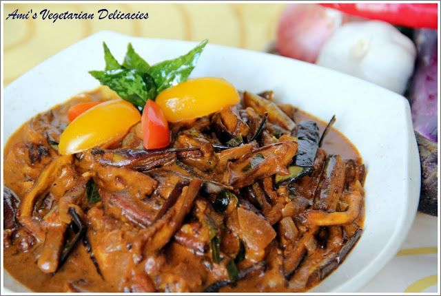 Ami's Vegetarian Delicacies: Eggplant Curry (Roasted Eggplant Chips in Hot and Sour Curry Sauce)