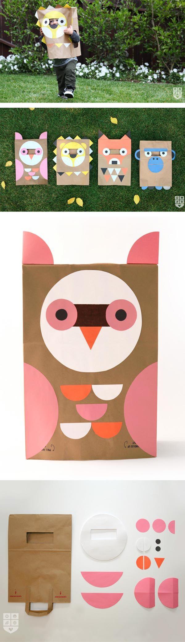 Disfraces halloween hechos con bolsas papel. También puede ser una buena idea para bolsitas de sorpresas. http://www.escarabajosbichosymariposas.com