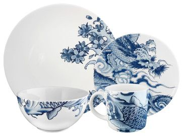 Irezumi 16-piece Dinnerware Set by Paul Timman - asian - Dinnerware Sets - Ink Dish