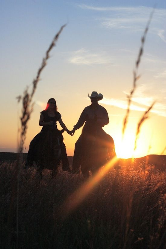 Love = horses, holding hands and sunsets.